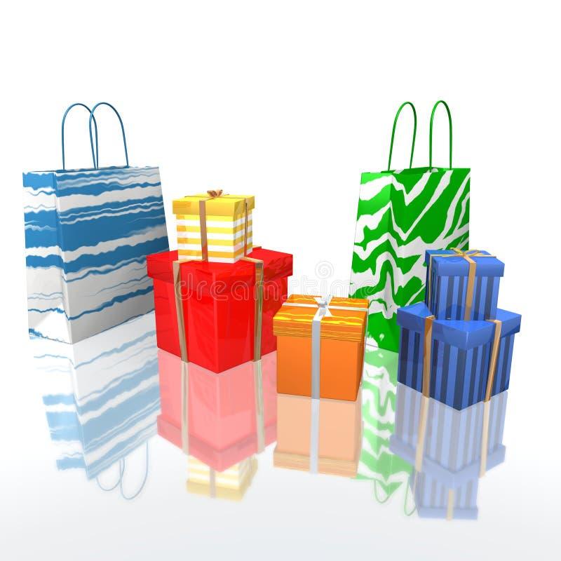 Sacos e presentes de compra ilustração royalty free