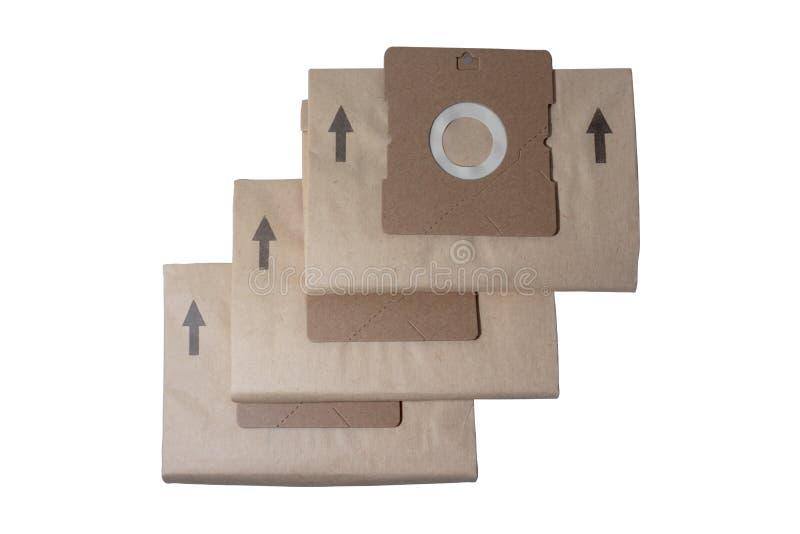 Sacos para o pó descartáveis novos do cartão para o aspirador de p30 isolado no branco imagens de stock royalty free