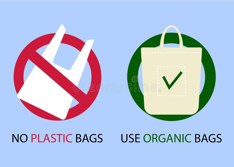 Sacos plásticos e orgânicos Protecção ambiental Diga não aos sacos de plástico e use sacos orgânicos Ilustração do vetor ilustração do vetor