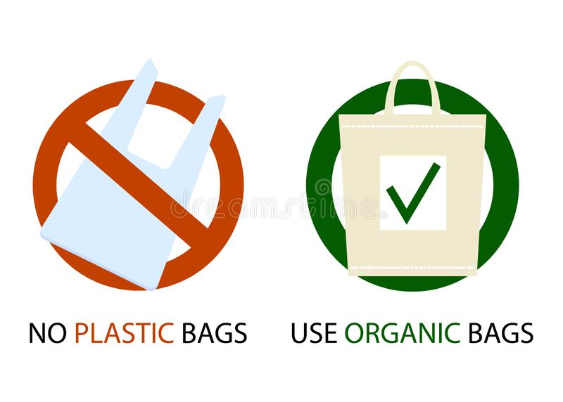 Sacos plásticos e orgânicos Protecção ambiental Diga não aos sacos de plástico e use sacos orgânicos Ilustração do vetor ilustração stock