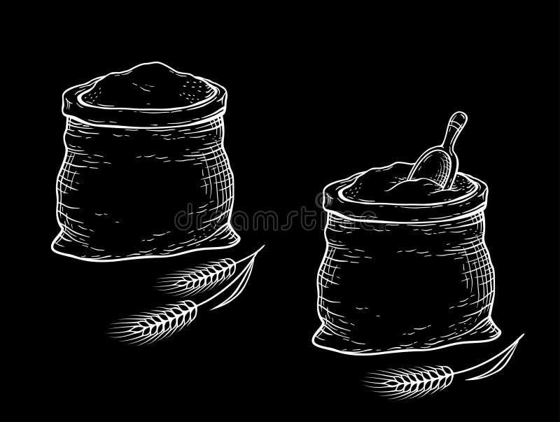 Sacos tirados mão do giz com farinha ilustração do vetor