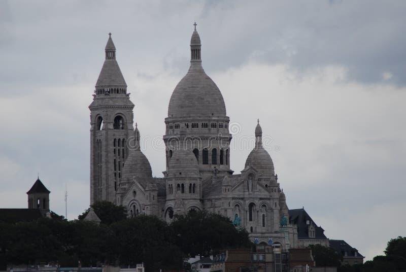 Sacré-Cœur, Paris, Montmartre, landmark, sky, spire, basilica. Sacré-Cœur, Paris, Montmartre is landmark, basilica and tourist attraction. That royalty free stock image