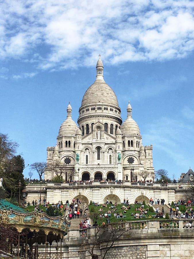 """Sacré-CÅ """"ur大教堂在巴黎,法国 2018年4月 库存照片"""