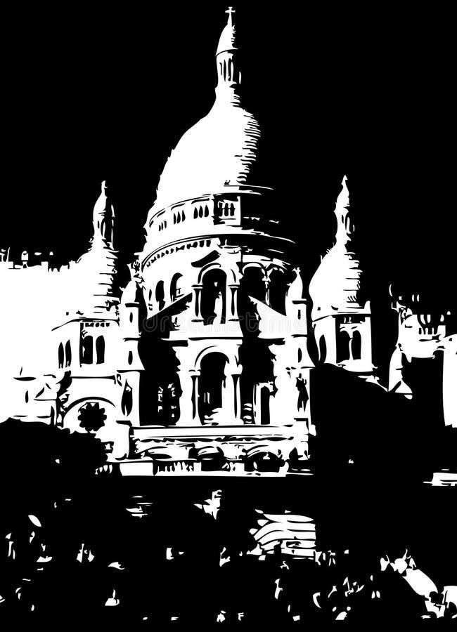 Sacré-Coeur Parijs Frankrijk stock illustratie