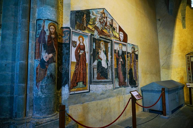 The Sacra di San Michele,The church painting and grave. Piedmont,Italy The Sacra di San Michele the Archangel, or more properly the Abbey of San Michele della royalty free stock photos