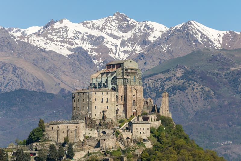 Sacra di San Michele Saint Michael Abbey on Mount Pirchiriano. The Sacra di San Michele Saint Michael Abbey , the symbol of the Italian region of Piedmont, In stock images
