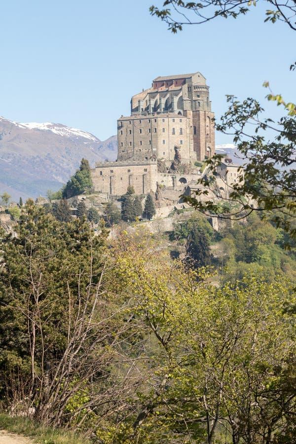 Sacra di San Michele Saint Michael Abbey sul supporto Pirchiriano fotografia stock