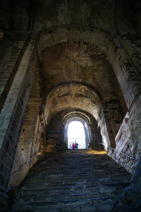 The Sacra di San Michele,The steep and severe Stairway of the Dead. Piedmont,Italy The Sacra di San Michele the Archangel, or more properly the Abbey of San stock photos
