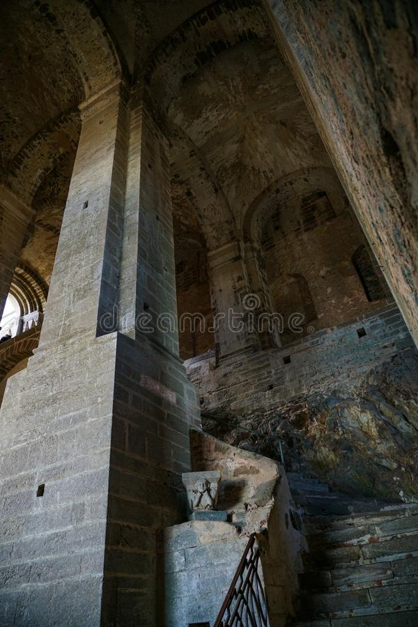 The Sacra di San Michele,The steep and severe Stairway of the Dead. Piedmont,Italy The Sacra di San Michele the Archangel, or more properly the Abbey of San stock photo