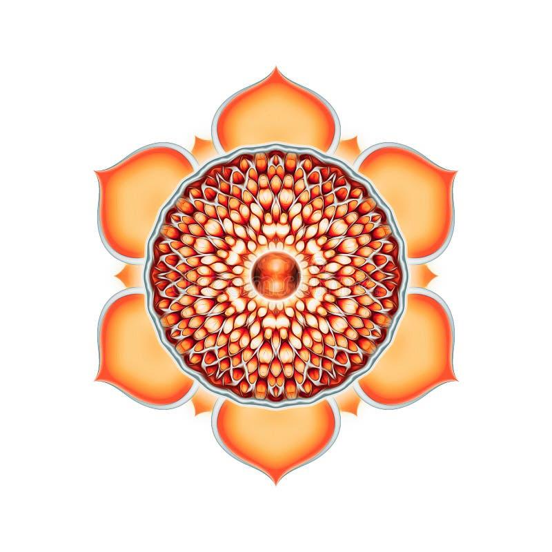 The Sacral Chakra Mandala. Illustration of the sacral chakra stock illustration