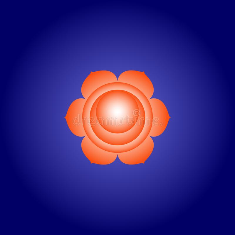 Sacral chakra Svadhisthana in Orange color on dark blue space background. Isoteric flat icon. Geometric pattern. Vector stock illustration