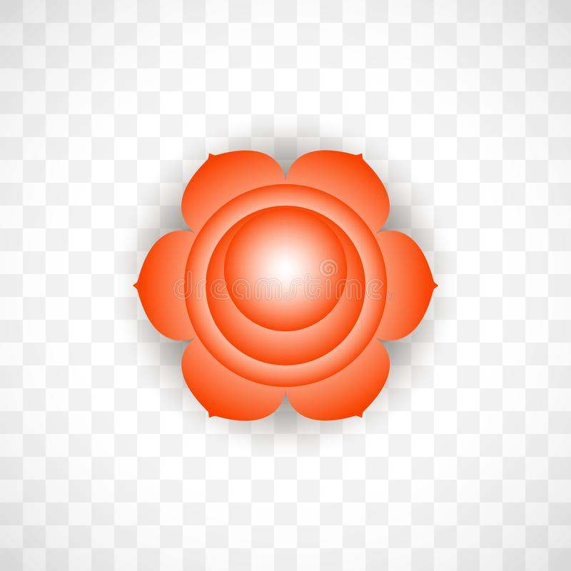 Sacral chakra Svadhisthana in Orange color isolated on transparent background. Isoteric flat icon. Geometric pattern. Sacral chakra Svadhisthana in Orange color vector illustration