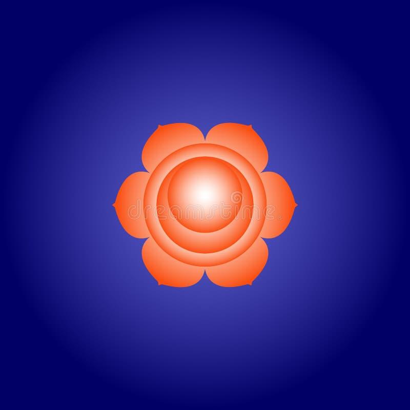 Sacral chakra Svadhisthana in Oranje kleur op donkerblauwe ruimteachtergrond Isoteric vlak pictogram Geometrisch patroon Vector stock illustratie