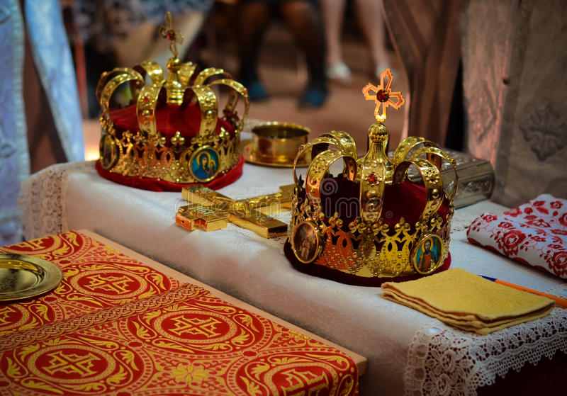 Sacral details of wedding ceremony - bridal crowns. Wedding preparation in Orthodox Church - bridal church crowns stock images