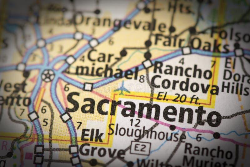 Sacramento auf Karte stockbild