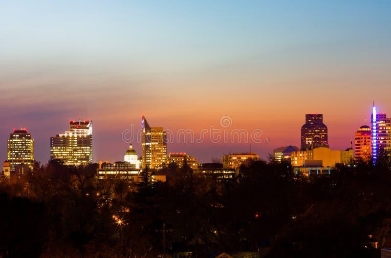 Sacramento bij nacht royalty-vrije stock fotografie