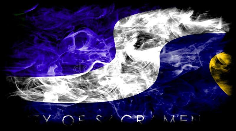 Sacramento city smoke flag, California State, United States Of America.  stock photo