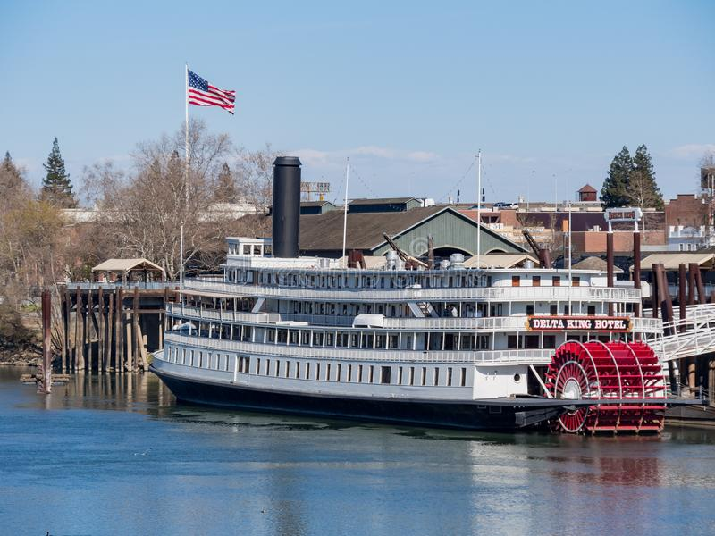 Afternoon view of the famous Delta King with Sacramento River. Sacramento, FEB 22: Afternoon view of the famous Delta King with Sacramento River on FEB 22, 2018 royalty free stock photography