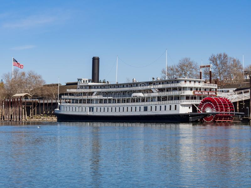 Afternoon view of the famous Delta King with Sacramento River. Sacramento, FEB 22: Afternoon view of the famous Delta King with Sacramento River on FEB 22, 2018 stock photography