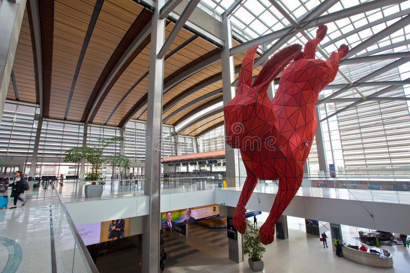 Sacramento International Airport. SACRAMENTO, CALIFORNIA - FEBRUARY 5, 2017: Large red rabbit sculpture hangs over the baggage claim area of Terminal B at royalty free stock photography