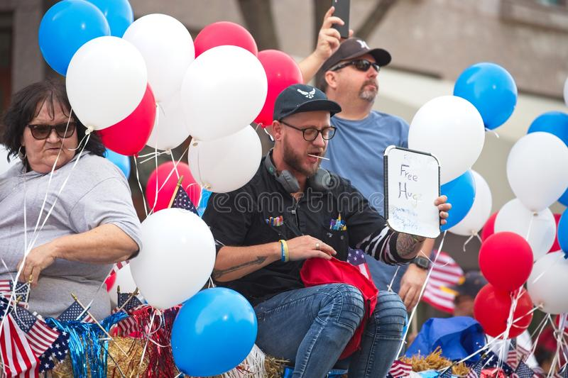 Sacramento Veterans Day Parade, with balloons stock photos