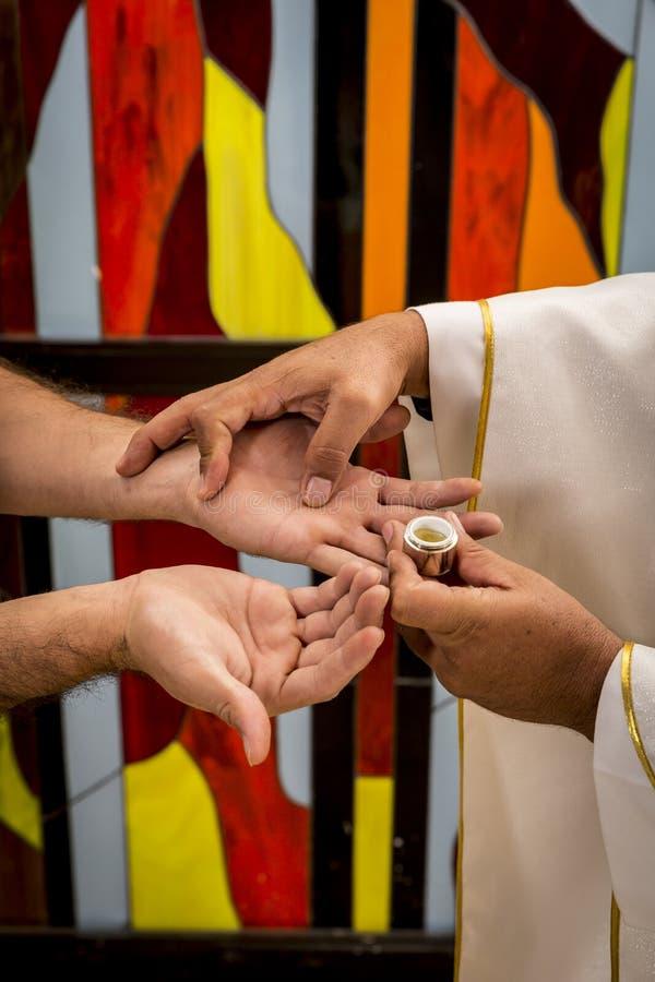 Free Sacraments Of The Catholic Christian Religion In Church Stock Photos - 219239163