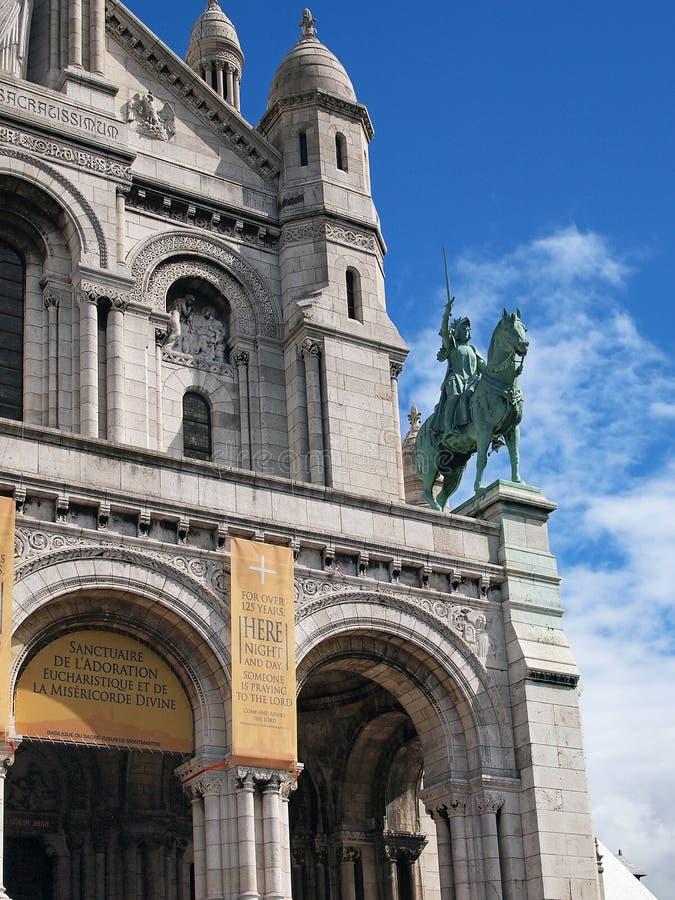 Sacre Coeur大教堂细节,蒙马特,巴黎,法国 免版税库存图片