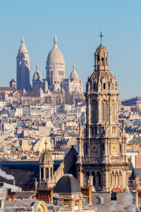 巴黎 Sacre coeur大教堂 库存照片
