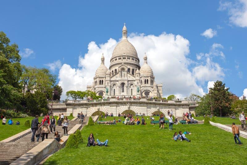Sacre Coeur天主教会在巴黎,法国 免版税库存图片
