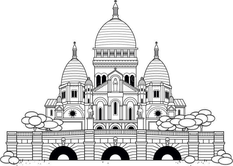 Sacre Coeur stock de ilustración