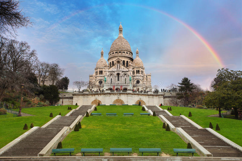 Sacre Coeur Basilica of Montmartre in Paris, France.  stock photo