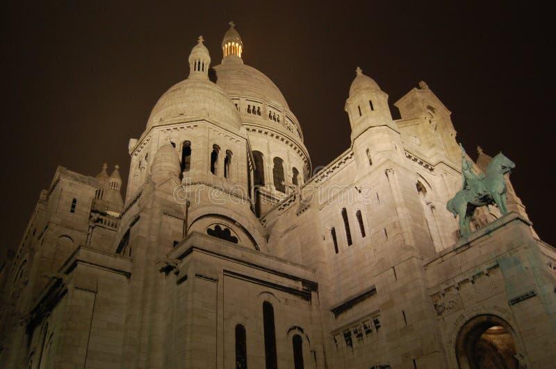 The Sacre Coeur Basilica at night, Paris stock photo