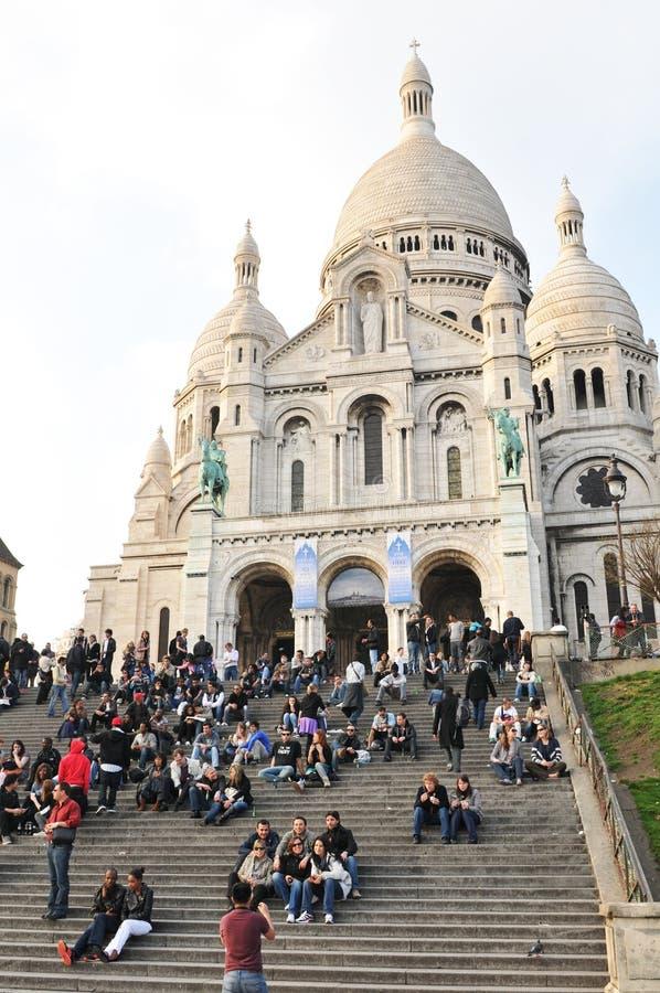 Sacre-Coeur Basilica in Paris, France stock images