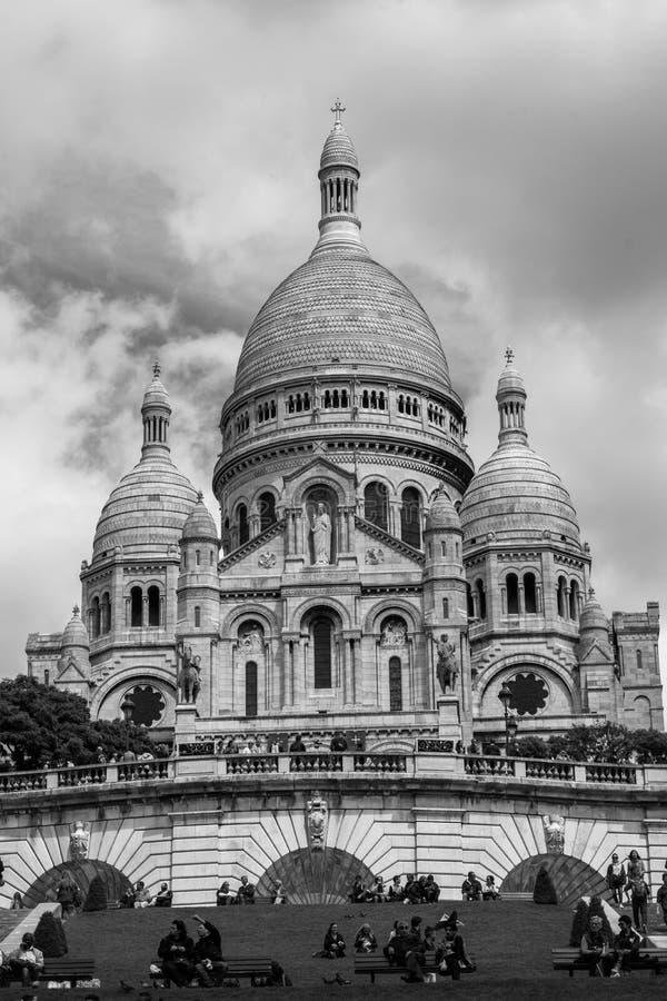 Sacre Coeur basilika i Paris Frankrike arkivbilder