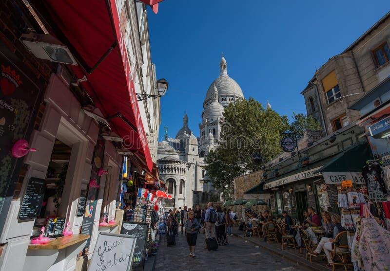 Sacre-Coeur Basilique在蒙马特巴黎,法国 免版税库存照片