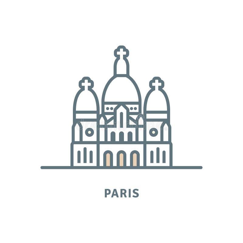 Sacre-Coeur bazyliki wektoru ikona ilustracji