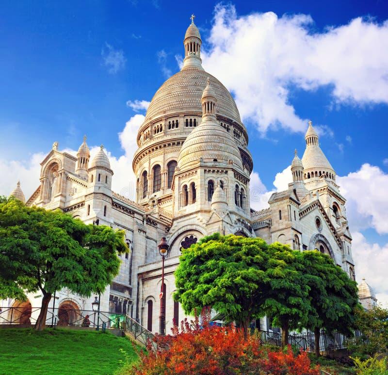 Sacre Coeur domkyrka på Montmartre, Paris arkivbild