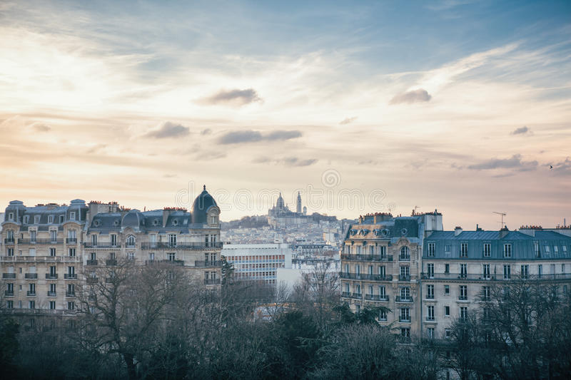 Sacre Coeur and Montmartre Hill in Paris, France stock photography