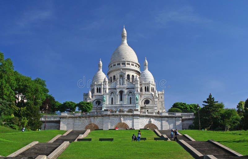 Sacre-Coeur in Montmartre, Parijs stock foto