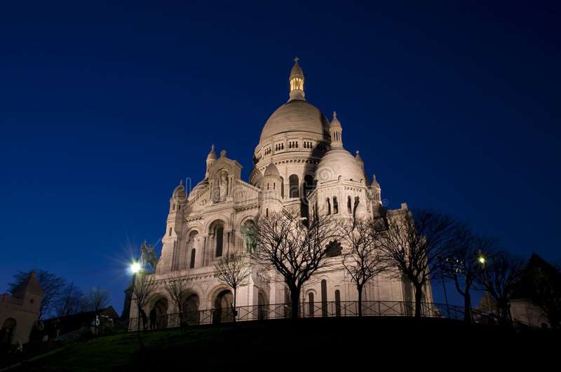Sacre coeur in the night royalty free stock photo