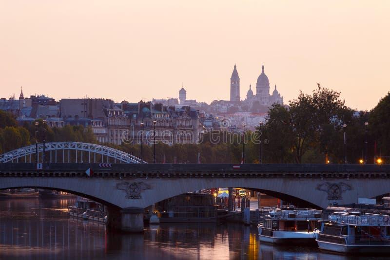 Sacre Coeur, Parijs vroege ochtend royalty-vrije stock afbeelding