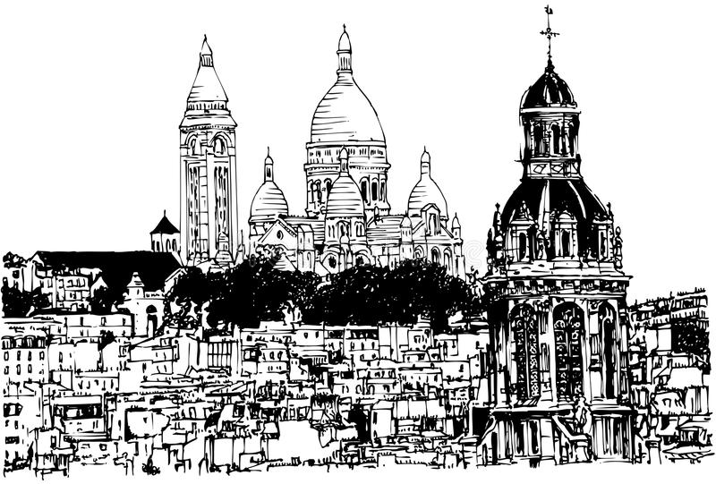Sacre Coeur in Paris. Vector illustration of a hand drawing view of Sacre Coeur in Paris