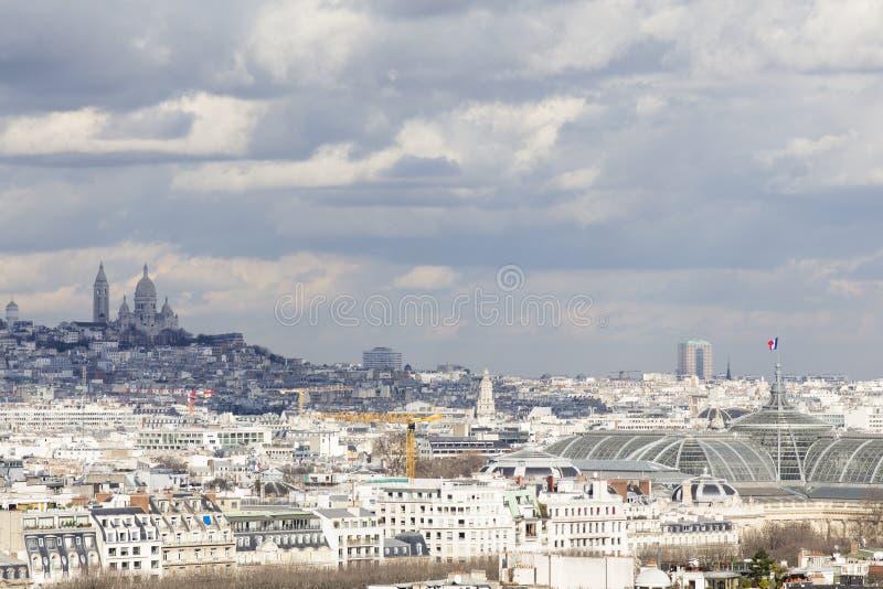 Sacre Coeur, Paris från turnera Eiffel arkivbild