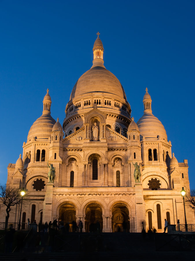 The Sacre Coeur at twilight royalty free stock image