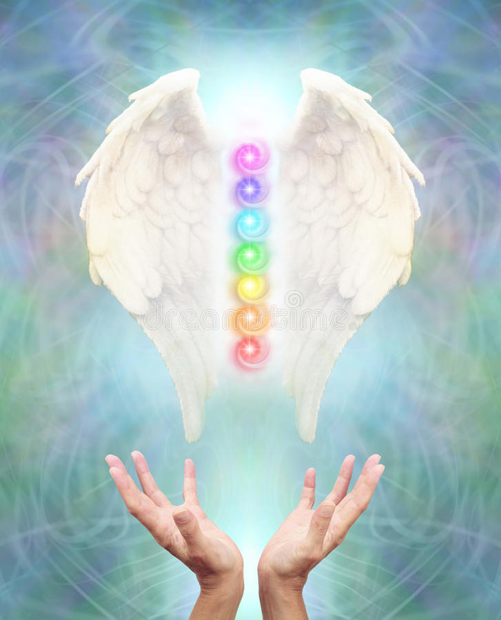Sacred Angel Chakra Healing. White Angel wings with seven chakras between on an intricate blue energy background and a pair of hands reaching up to the healing royalty free stock image
