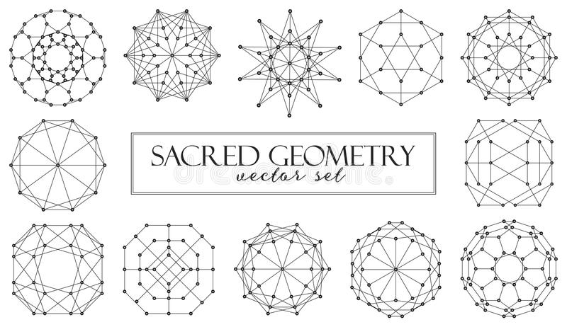 Sacred geometry abstract elements vector set on white background stock illustration