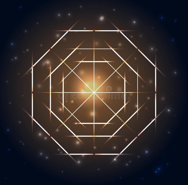 Free Sacred Geometry. Abstract Geometric Shapes On A Dark Blue Glowing Background Stock Photos - 93897283
