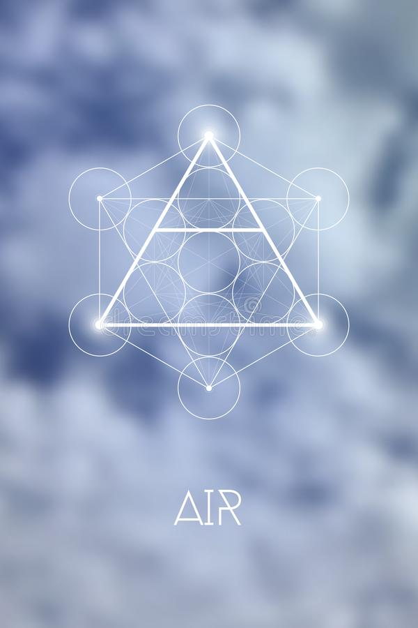 Sacred geometry Air element symbol inside Metatron Cube and Flower of Life in front of natural blurry background vector illustration