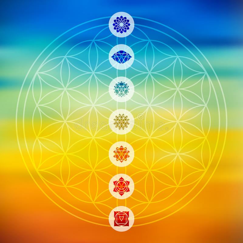 Sacred geometry with chakra icons colorful background stock illustration