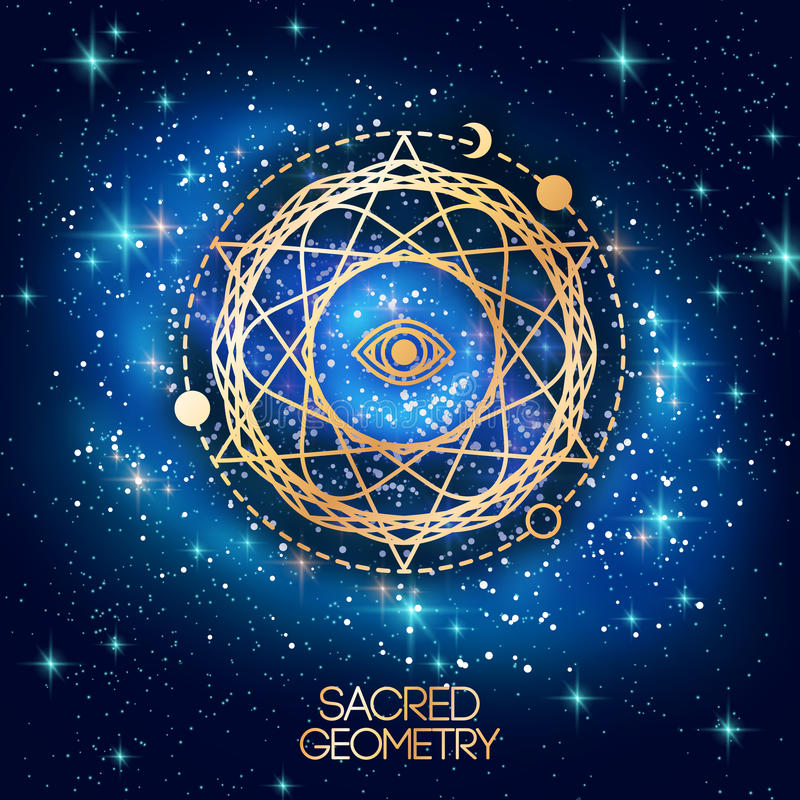 Sacred Geometry Emblem with Eye in Star. On Shining Galaxy Space Background. Vector illustration. Geometric Logo Design, Spirograph Interweaving Lines. Alchemy royalty free illustration